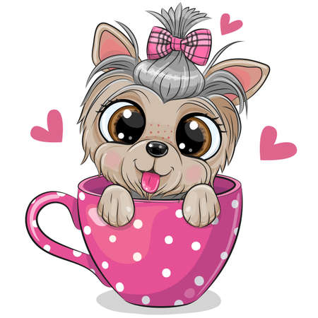 Cute Cartoon Yorkshire terrier with a bow is sitting in a Cup of coffee