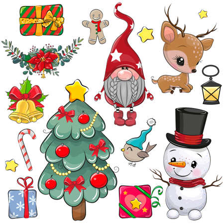 Set of Cute Christmas design elements on a white background