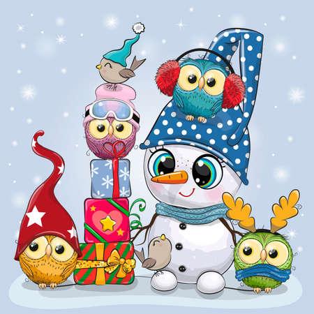 Snowman in a hat and four Cute Cartoon Owls
