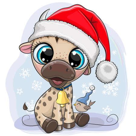 Cute Cartoon Bull in Santa hat on a blue background