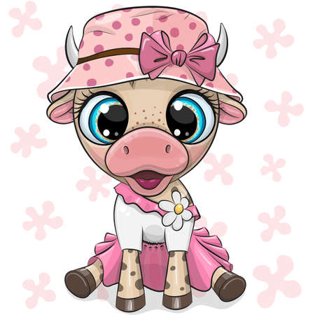 Cute Cartoon Cow in a pink dress and panama hat