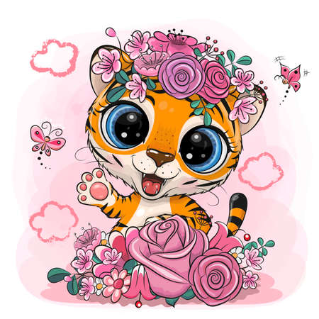 Cute Cartoon Tiger with flowers on a pink background
