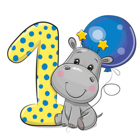 Cute Cartoon Hippo and number one isolated on a white background