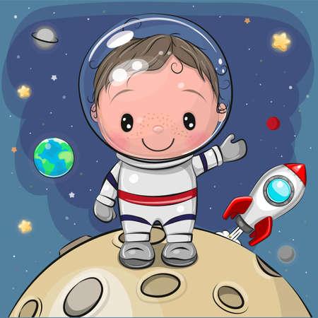 Cute Cartoon Boy astronaut on the moon on a space background Ilustrace