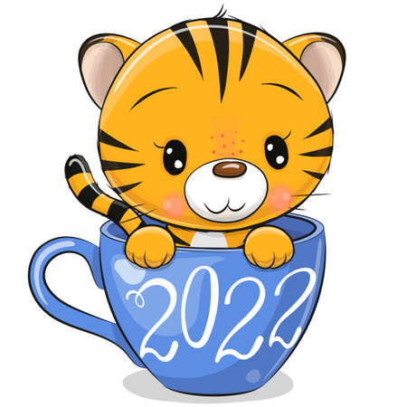 Cute Cartoon Tiger is sitting in a blue Cup Ilustrace