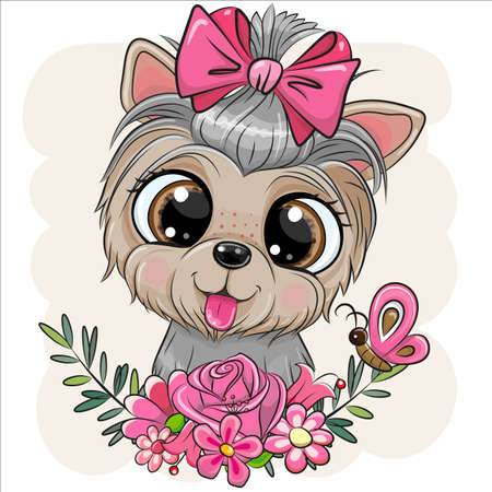Cute cartoon Dog Yorkshire Terrier with flowers Ilustrace