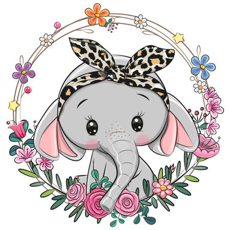 Cute Cartoon Elephant with a floral wreath
