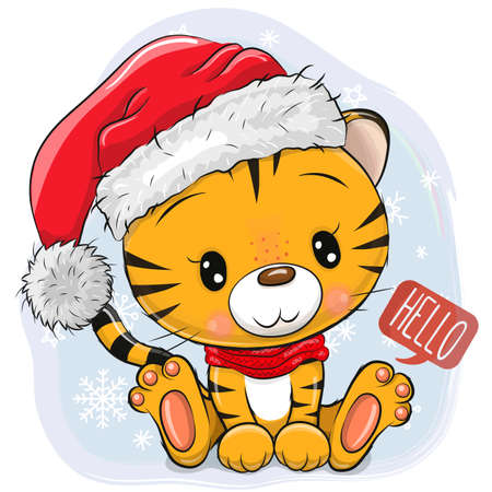 Cute Cartoon Tiger in Santa hat on a blue background Ilustrace
