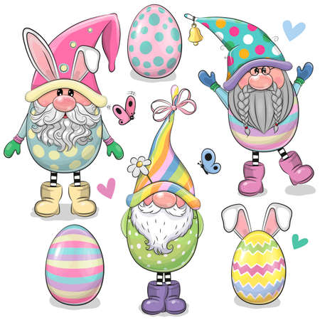 Set of Cute Cartoon Easter Gnomes isolated on a white background