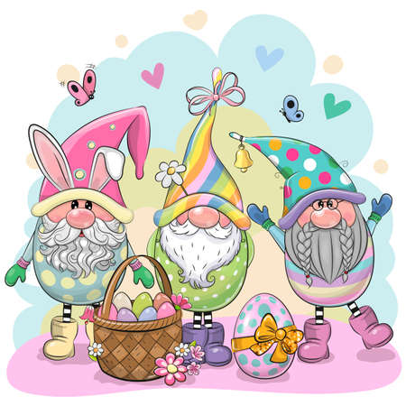 Greeting Easter card with Three Cute Cartoon Gnomes