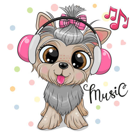 Cute cartoon Dog Yorkshire Terrier with hedphones on a white background Ilustrace