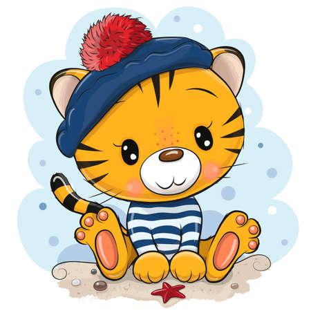 Cute cartoon tiger in sailor costume on the beach Ilustrace