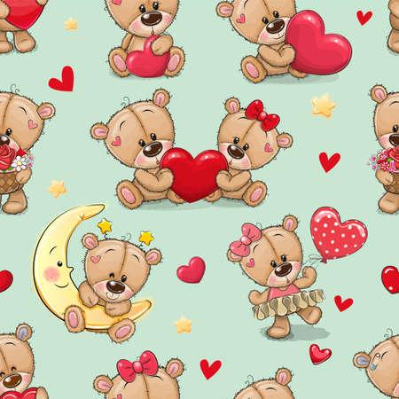 Seamless Pattern with cute cartoon Teddy Bears