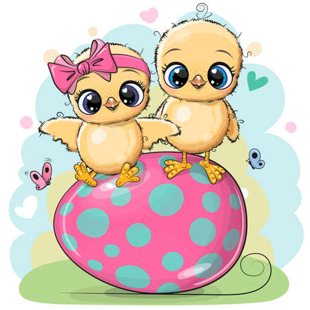 Greeting Easter card Two Cute chickens on the egg Ilustrace