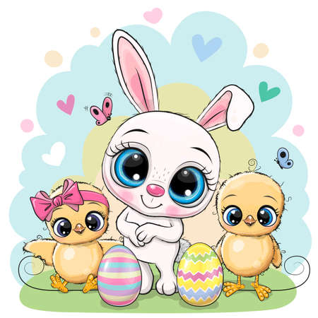 Greeting Easter card Two Cute chickens and Bunny