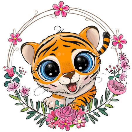 Cute Cartoon Tiger with a floral wreath