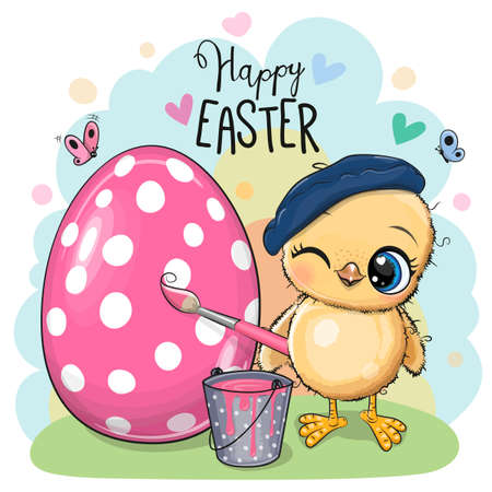 Cute cartoon Chicken paint on the egg Ilustrace
