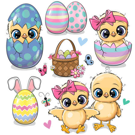 Easter set with eggs and Cute Cartoon Chickens Ilustrace