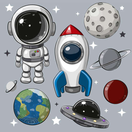 Cute Cartoon space set of astronaut, rocket and planets Ilustrace
