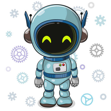 Cute Cartoon blue Robot on a white background Ilustrace