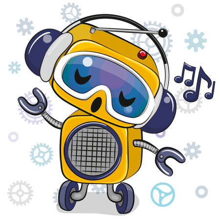 Cute Cartoon yellow Robot with headphones on a white background