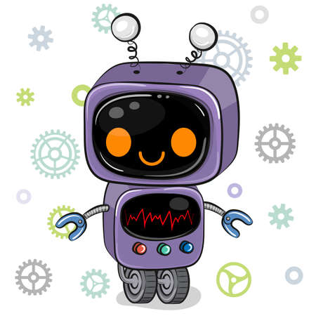Cute Cartoon purple Robot on a white background Ilustrace