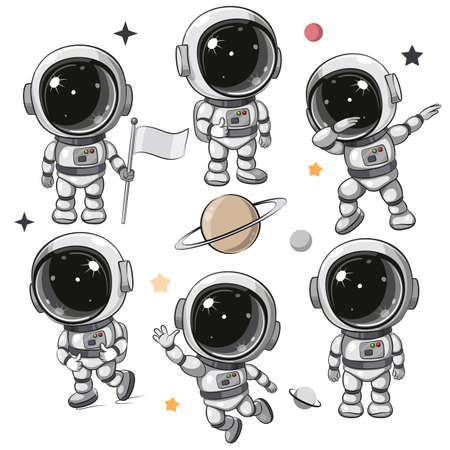 Cute Cartoon space set of astronaut isolated on a white background