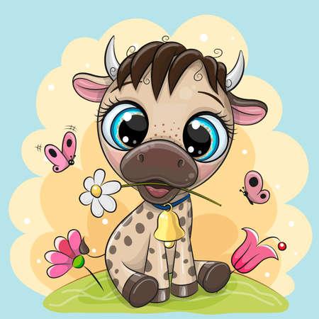Cute cartoon Bull with flowers