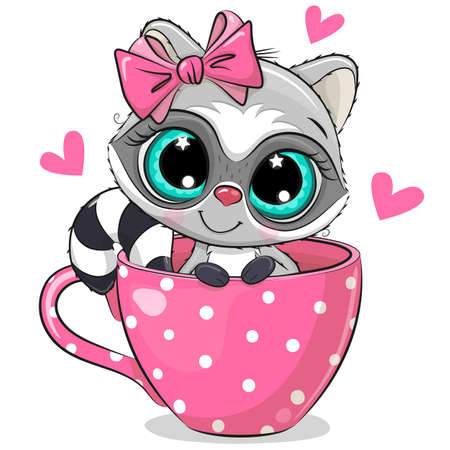 Cute Cartoon Raccoon with a bow is sitting in a Cup of coffee Ilustrace