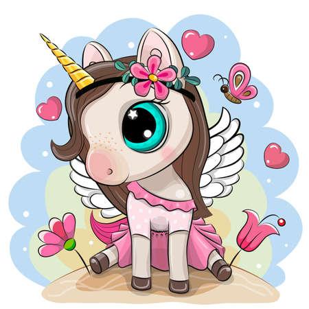 Cute Cartoon Unicorn in a pink dress