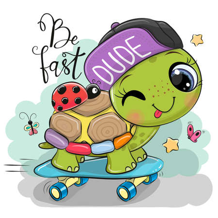 Cute Turtle with a purple cap and a skateboard Ilustrace