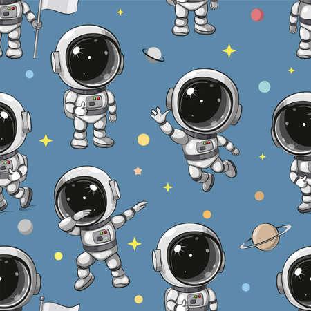 Pattern Cute Cartoon astronaut
