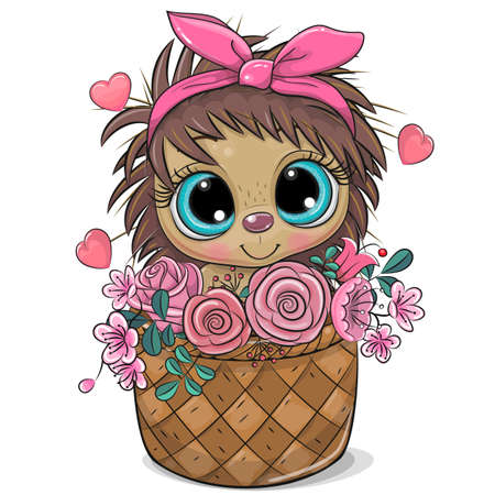 Cute cartoon hedgehog in a basket of flowers