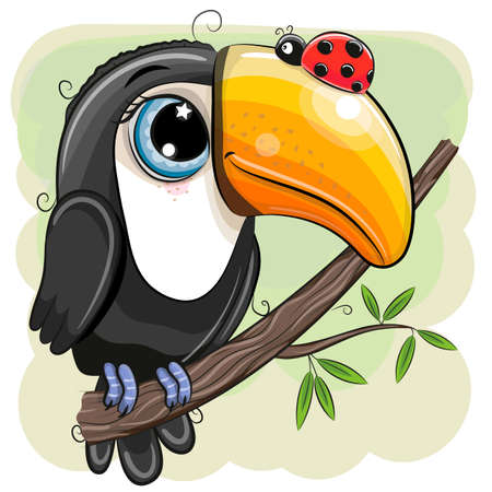 Cute Cartoon Toucan with ladybug is sitting on a branch