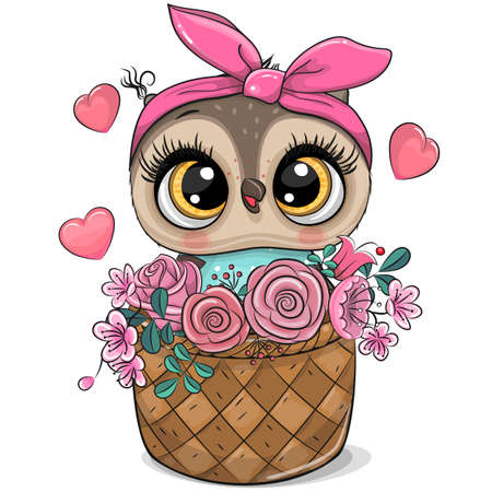 Cute cartoon Owl in a basket of flowers on a white Ilustrace
