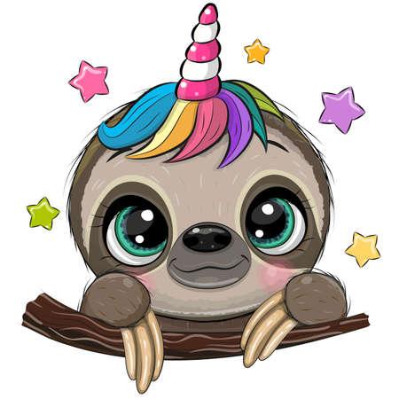 Cute Cartoon Sloth with Unicorn Horn a white