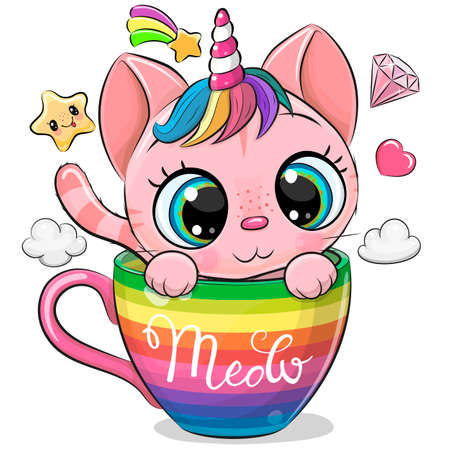 Cute Cartoon pink Kitten with the horn is sitting in a rainbow cup Ilustrace
