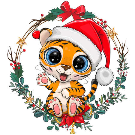 Cute Cartoon Tiger in Santa hat with christmas wreath