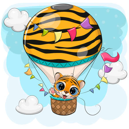 Cute Cartoon Tiger is flying on a hot air balloon