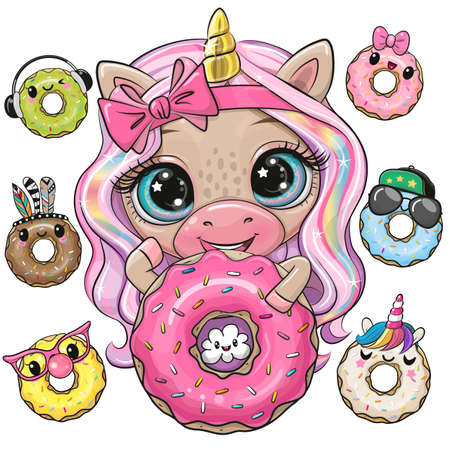 Cute Cartoon Unicorn with long pink hair and donuts Ilustrace