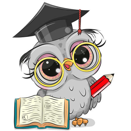 Cute Clever owl with pencil, book and in graduation cap Ilustrace