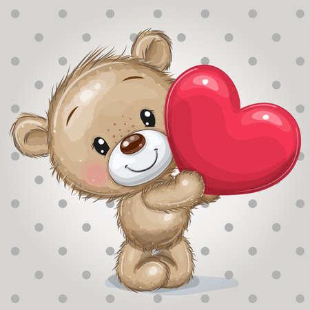 Cute Cartoon Teddy Bear with heart on a dots background