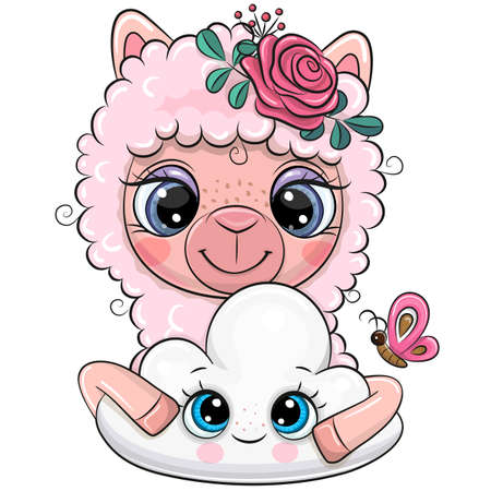 Cute Cartoon Pink Alpaca with a flowers and cloud Ilustrace
