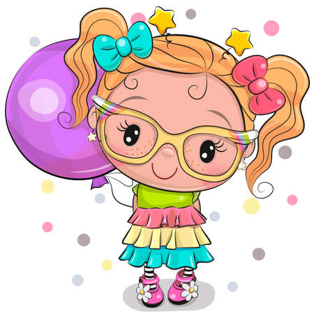 Cute Cartoon Girl in a dress with bows and a purple balloon
