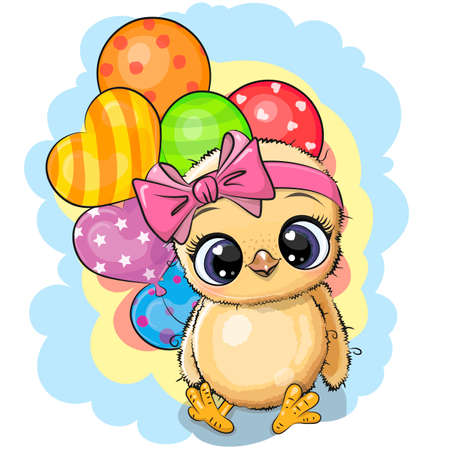 Greeting card Cute Cartoon Chicken girl with balloons