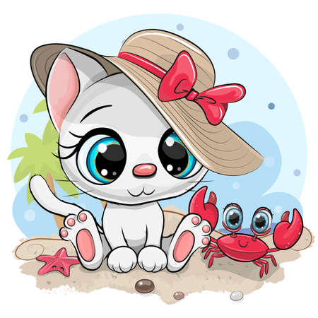 Cartoon White Kitty in a hat and cute crab on the beach