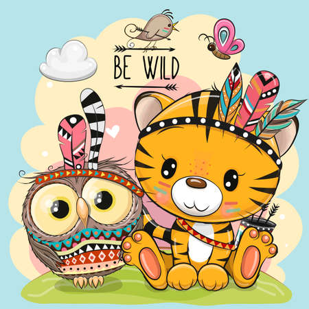 Cute Cartoon tribal Tiger and owl with feather