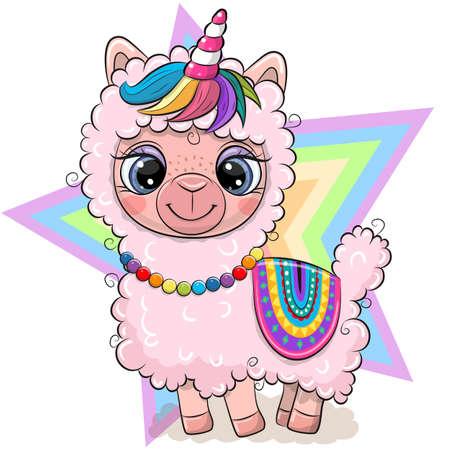 Cute Cartoon Pink Alpaca with Unicorn horn isolated on a star background