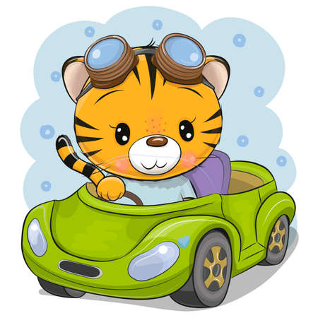 Cute Cartoon Tiger in a glasses goes on a green car