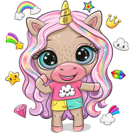 Cute Cartoon Unicorn in a t-shirt and shorts with long hair Ilustrace